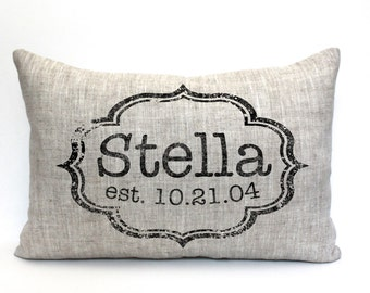 "baby gift, baby pillow, child's name pillow, personalized pillow, birthday pillow, christmas gift- ""The Stella"""