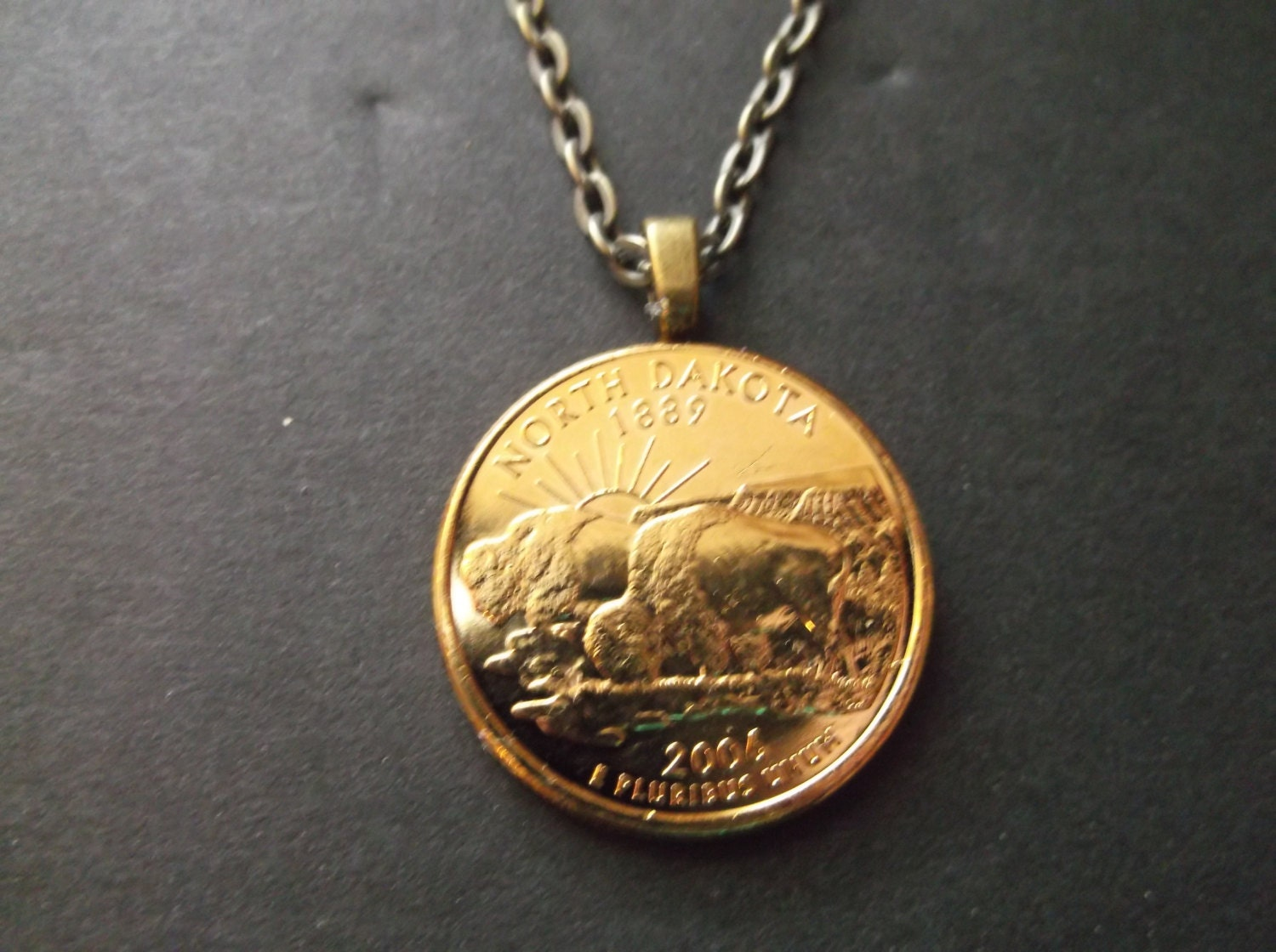 North Dakota United States Gold Colored Quarter Coin Necklace