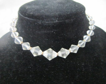 Necklace Gorgeous Graduated Cut Crystal & Gold Filled Necklace