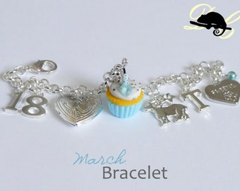 Your MARCH Birthday Bracelet - Cupcake with candle, birthstone,letter,locket, and zodiac charm - Personalised (In Stock)