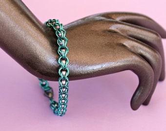 Niobium and Swarovski Pearl Captured Chainmaille Bracelet