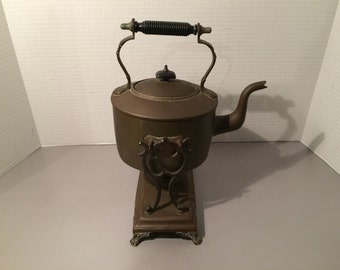 Antique Tea Kettle 1800s On Stand with  oil Burner