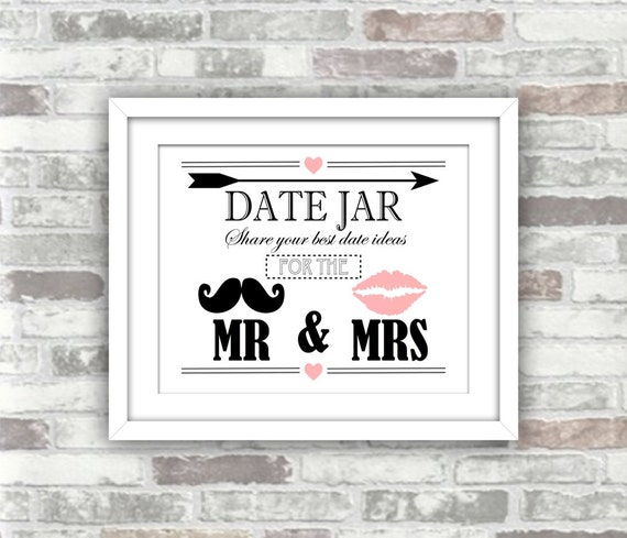 INSTANT DOWNLOAD - Date Jar Wedding Decor Sign - Printable Digital Art Print File - moustache, lips, pink, black, arrow - matches photobooth
