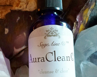 SageAine:  AuraClean© Crystal Essence Spray~ Cleanses Aura of Negative Energy Attachments, Clears Quartz Crystals