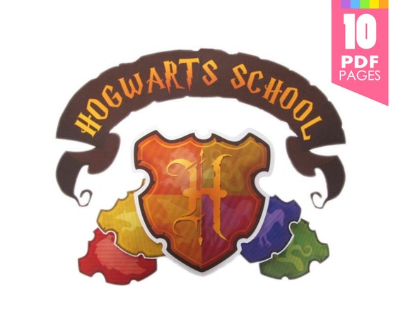 Hogwarts school crest and banner harry potter party with - Gryffindor crest high resolution ...