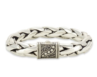 Sterling Silver Men's Bracelet 8 inch Handwoven with a Decorative Lock