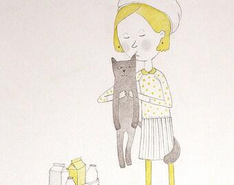 Girl and cat Kiss art Pet illustration Gray yellow art love Cat lover Cat art Cat illustration Original art Drawing I am back Girl room art