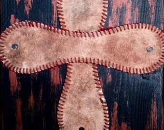 Baseball Cross Plaque (Black & Orange) Item # 301