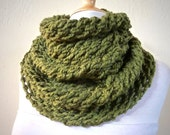 MILITARY Green / Olive (Or Choose Color) infinity scarf / cowl -- wool blend, chunky, fashion accessories