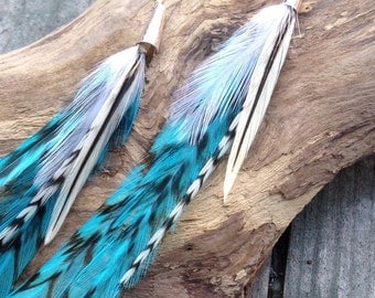 Sky Blue Extra Long Tribal Feather Earrings