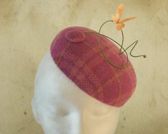 Lucy - Pink Plaid Tweed Pillbox Beret Fascinator with Butterfly