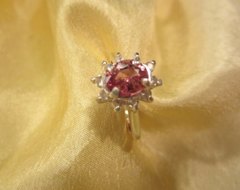 Size 7 Sterling Accented Pink Spinel Ring