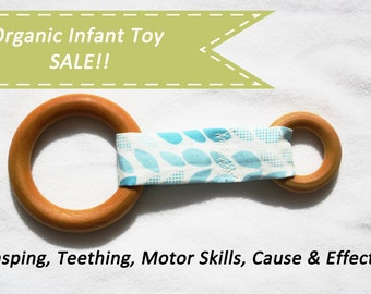 Organic toy, wooden ring, fabric, all natural baby toy, car seat toy