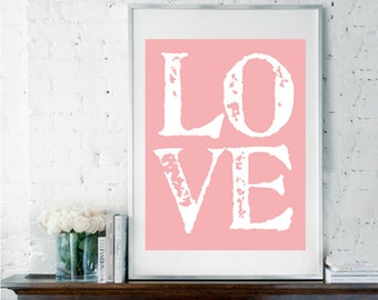 Love Print, Nursery Art, Romantic Print, Typography Poster, Love Typography, Home Decor, Wedding Gift, Housewarming Gift, Office Decor