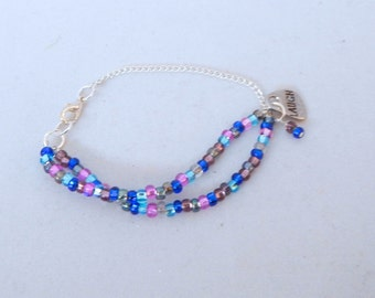 Multi Color Seed Bead Bracelet with Charm