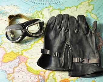 1949 Unused Men Black Leather Gloves - Illinois Glove Company - Military Gloves - Size 4