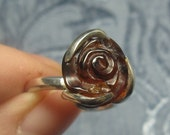 Rose Amber Sterling Ring Size 8