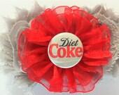 Handmade Hair Flower inspired by Diet Coke