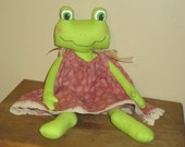 Frog Doll wearing Pillowcase Dress
