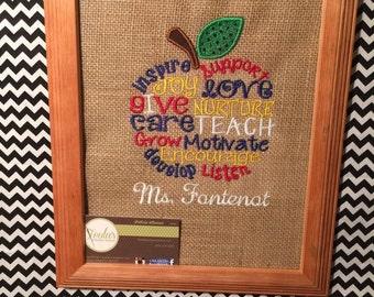 Teacher Appreciation Monogram Burlap Picture Frame