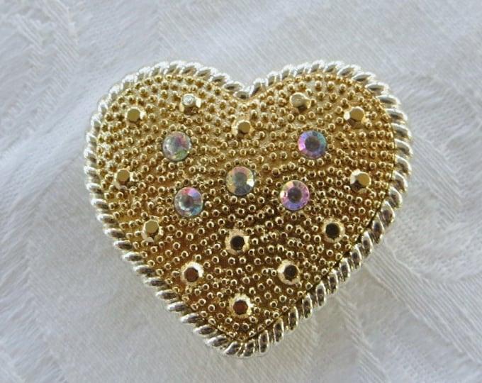 Vintage Heart Brooch Pendant Aurora Borealis Rhinestones Wedding Pin Bride