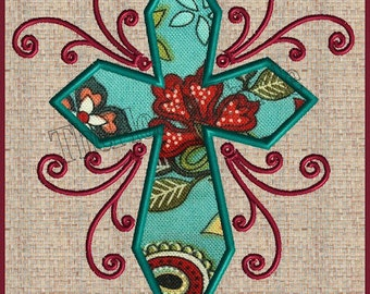 Cross Applique with Scrolls Filigree Cross Embroidery Design Cross machine embroidery design Easter Applique Embroidery Design