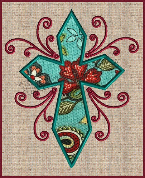 Cross applique with scrolls filigree embroidery design