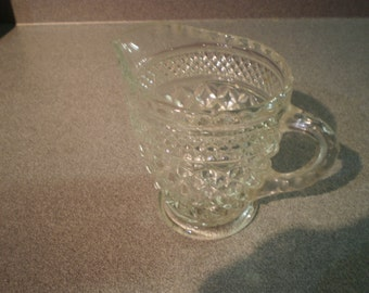 Vintage Glass Diamond Point Creamer Cup