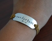 Wanderlust Hand Stamped Suede Charm Bracelet