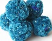Felt Beads, Extra large Beads, Blue shades Beads, Felt Balls Felt Beads Felted Balls Wool Beads, Round