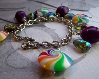 Rainbow lentil polymer clay charm bracelet