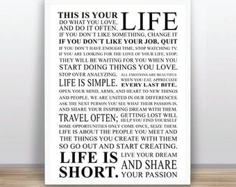 Life rules Black and White  - quote printable poster - INSTANT DOWNLOAD   (11x14 inches / A3 size) )