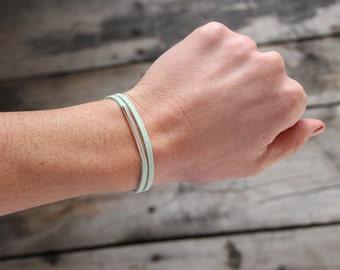 Mint Leather & Tube Wrap Bracelet