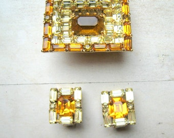 Vintage Kramer Signed Brooch and Earrings Topaz Amber Yellow Stones Three Dimensional  Bridal Wedding Jewelry Demi Parue Designer Jewelry