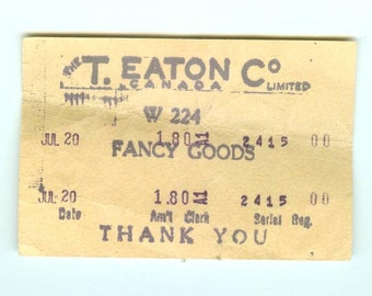 "Antique T. Eaton Co Limited Receipt for ""Fancy Goods"" Eaton's Department Store Canada Vintage Ephemera Collectible"
