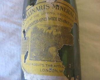 "Vintage Green Apollinaris Mineral Water Empty Bottle  12"" CL29-20"