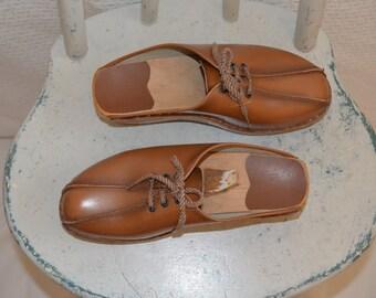 Caramel Leather Lace Up Swedish Clogs / Slip On's / Mules- Women's 6