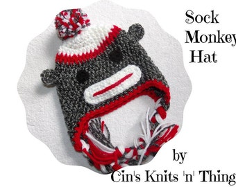 Sock Monkey Hat -Baby Sock Monkey - Hats for Kids - Baby Hats - Toddler Hat - Baby Shower Gift -  Photo Prop