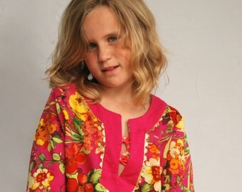 Girls floral tunic - Girls Coverup - Girls swimsuit cover up size 5 6 7 8 9 10