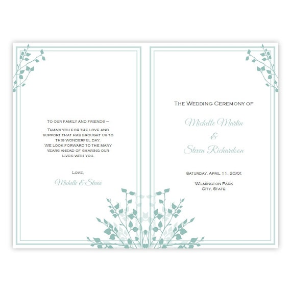 half fold wedding program template brittany diy by ajsprints