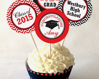 Graduation Cupcake Toppers, 2017, PRINTABLE, Personalized, Custom Colors, DIY Printable File