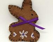 Zero Calorie Milk Chocolate Bunny Felt Pin for Easter