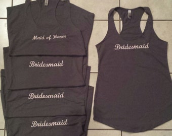 Monogrammed Bridal Party Racer Back Tank Tops