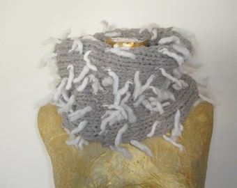 Beige handmade knitted scarf