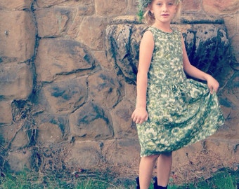 Girls Dress Flower Green Low Waist 20's Festive