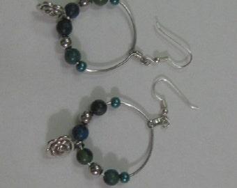 Yellow Turquoise Hoop Earrings