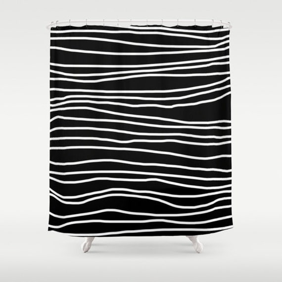 Shower Curtain -Black and White Shower Curtain - Striped Shower ...