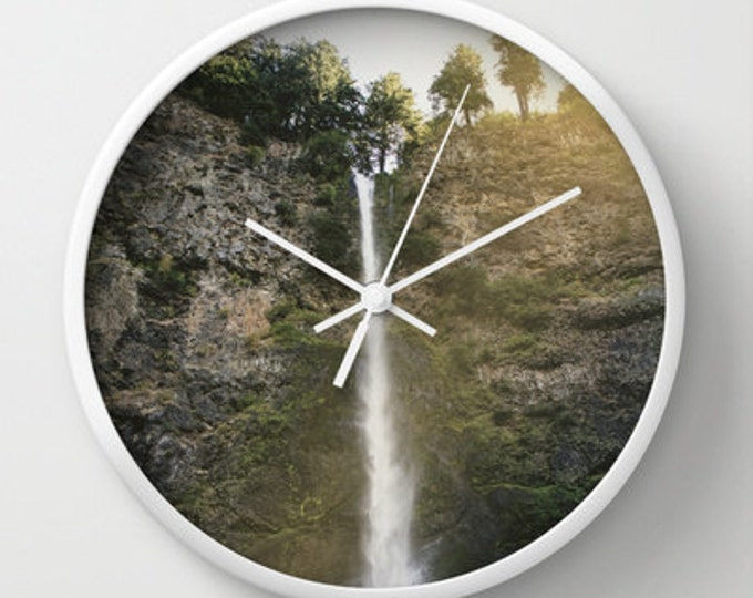 Waterfall  Wall Clock - Photo Clock - Original Photo Multnomah Falls, Portland Oregon - Nature Clock - Made to Order