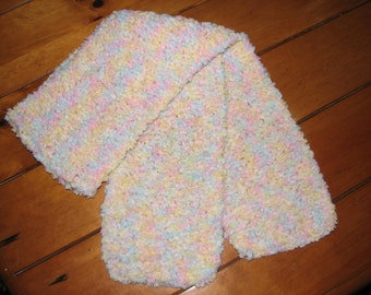 Hand Knitted Scarf Multi Color Pastels