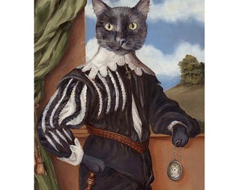 Black Cat Art Prints, Renaissance Cat, Historical Cat Portrait